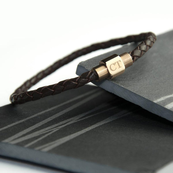 Personalised Men's Woven Leather Bracelet With Gold Clasp -  Personalised For CT