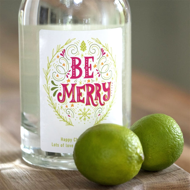 "Personalised 'Be Merry' Gin - colourful ""BE MERRY"" label which we print to order with a personalised message along the bottom of the label"