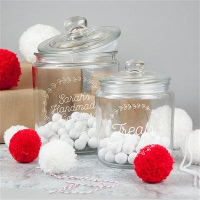 Personalised Christmas Jar - Little 0.9L & Large 1.9L Jars Sit Together Filled With Goodies