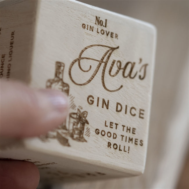 Personalised Gin Recipe Dice - A Close Up Of The Personalised Side Of The Dice Which States It Is Ava's Gin Dice!