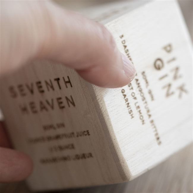 Personalised Gin Recipe Dice - Displaying The Recipe For Seventh Heaven & Pink Gin