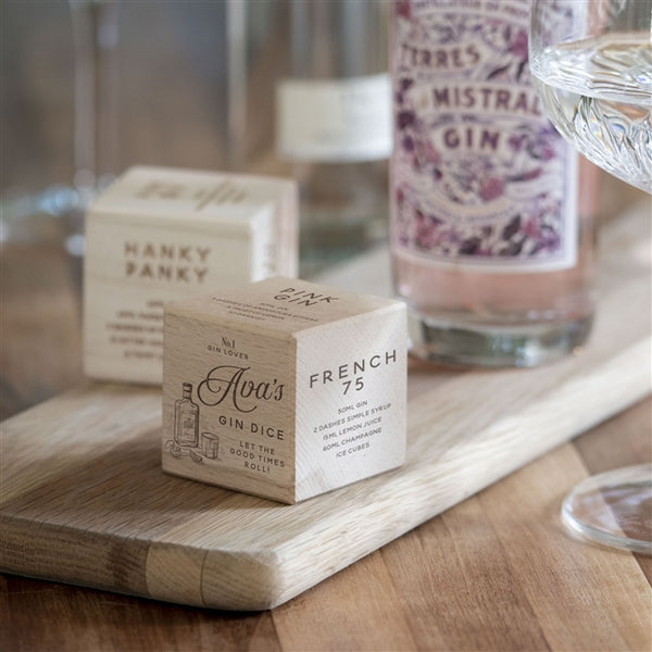 This Gin Recipe Dice with five gin recipes and personalised on one side with any name and 'let the good times roll!'