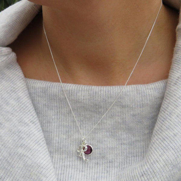 Personalised Initial Birthstone Necklace - The Purple Birthstone With Initial R Is Worn By A Model