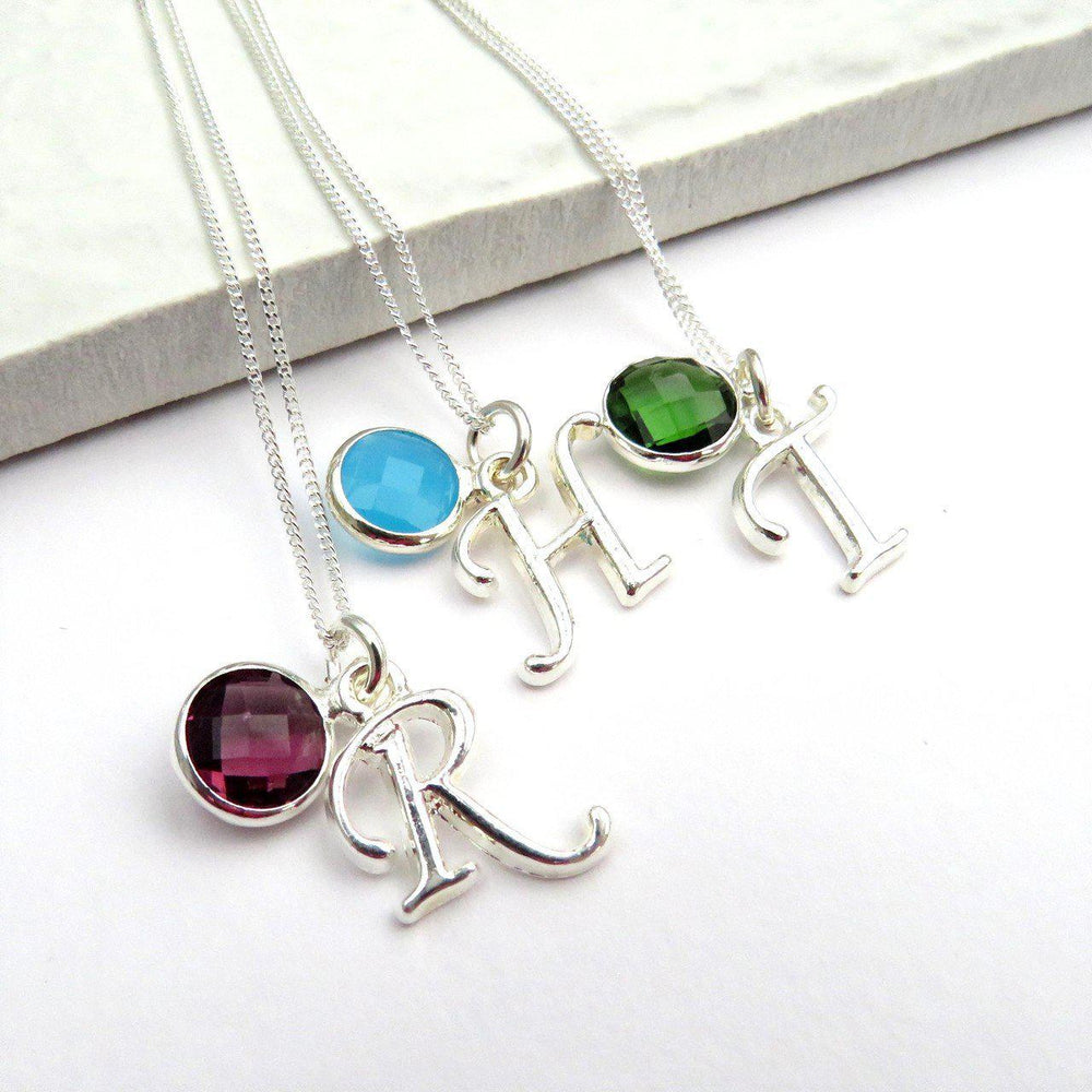 Necklaces In The Picture Have Birthstones And Initials R And Purple (February), H And Light Blue (March) And T With Dark Green (May)