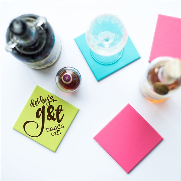 "Personalised Leather G&T Coaster - Lime Green Coaster Stating ""debby's g&t hands off!"""