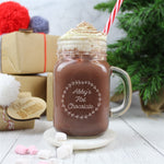 Personalised Mason Jar Filled With A Scrummy Hot Chocolate In Front Of Christmas Presents