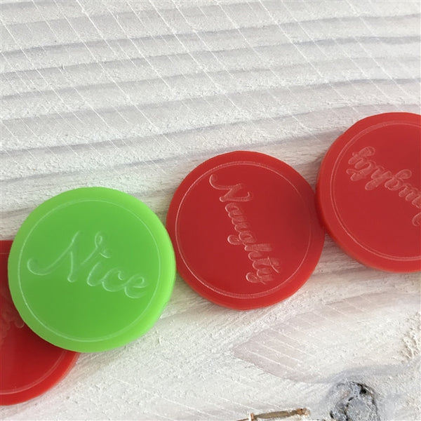 Personalised Naughty & Nice Jar - Green Tokens Represent Nice And Red Naughty, All Tokens have Naughty Or Nice As Text