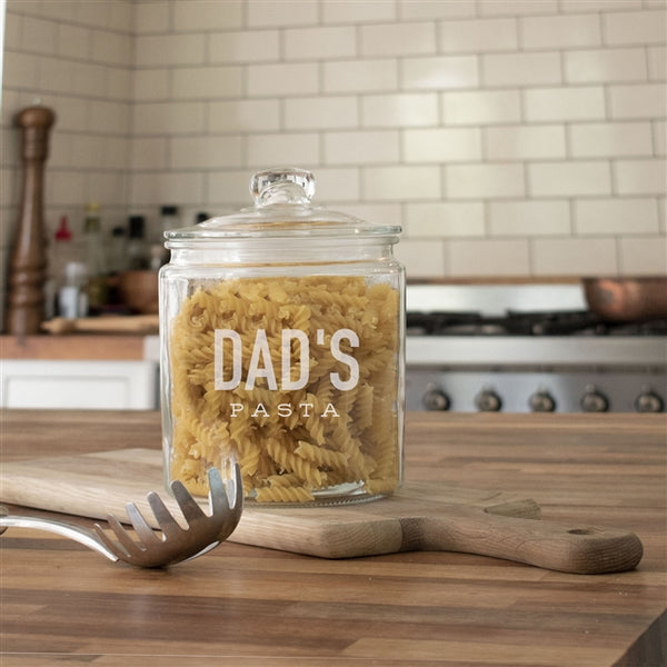 Personalised Pasta Jar - Message Reads Dad's Pasta