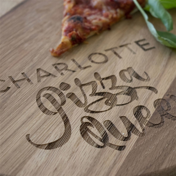 Personalised 'Pizza Queen' Pizza Board - Close Up Of The Engrave Text To Show The Quality Of The Product