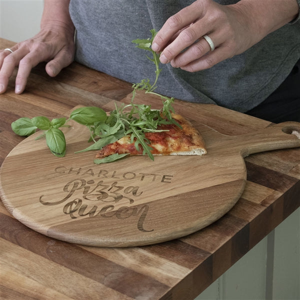 Personalised 'Pizza Queen' Pizza Board With The Name Charlotte Above The Text Pizza Queen