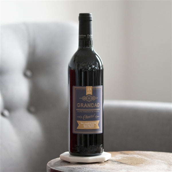 Personalised Red Wine - premium red wine adorned with a personalised label featuring a date, a name and a message of your choice.
