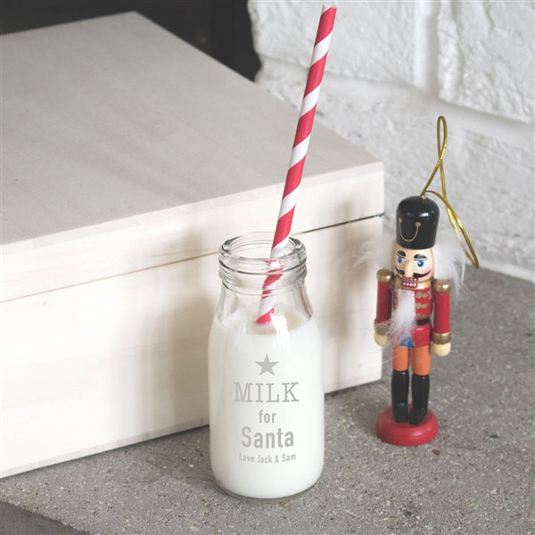 "Personalised Santa's Milk Bottle - Text Reads ""Milk For Santa"" With A Personal Message Underneath"