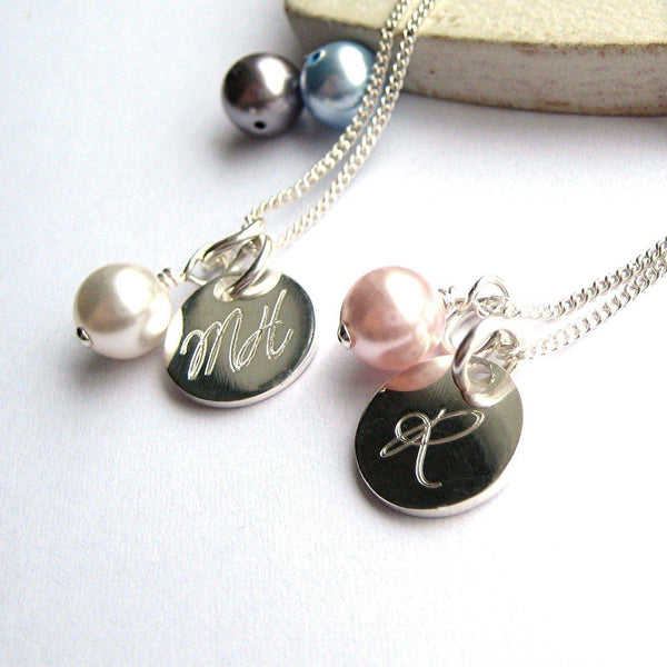 Necklaces Show A Pale Pearl And MH On The 10mm Disc And The Other Has A Pale Pink Pearl With The Initial R On The 10mm Disc