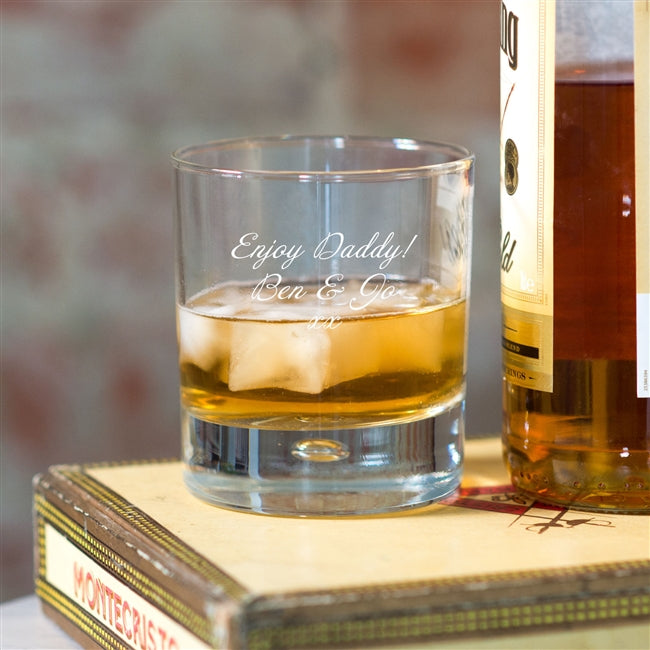 "Personalised Script Whisky Tumbler With A Personal Message That Read ""Enjoy Daddy! Ben & Jo xx"""
