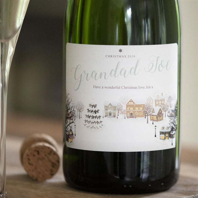 "Personalised Snowy Scene Champagne That Reads "" Christmas 2019 Grandad Joe Have A Wonderful Christmas Love Jen x"""