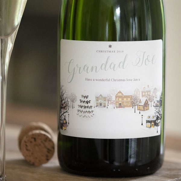 Personalised Snowy Scene Champagne That Reads