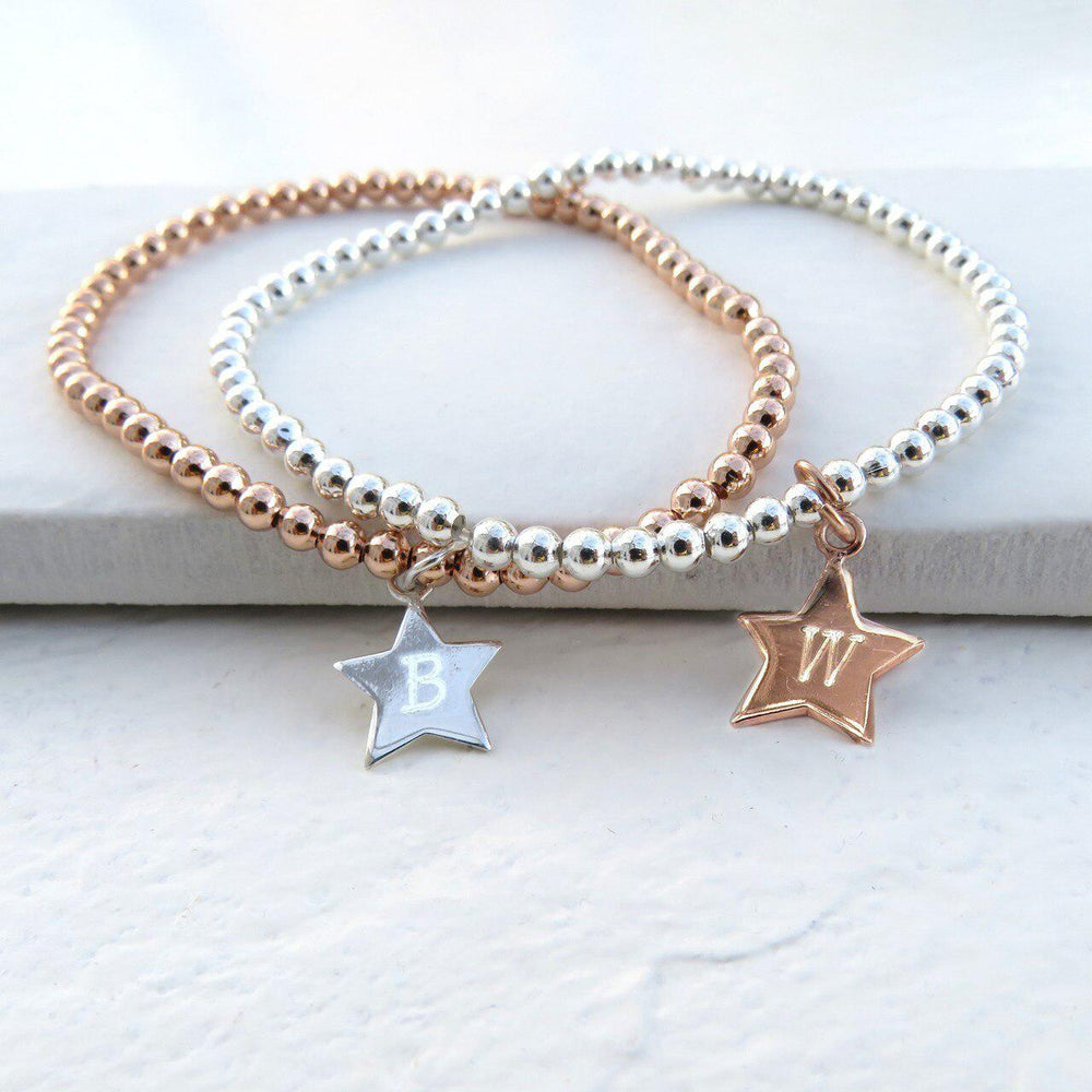 Personalised Star Silver Beaded Bracelet