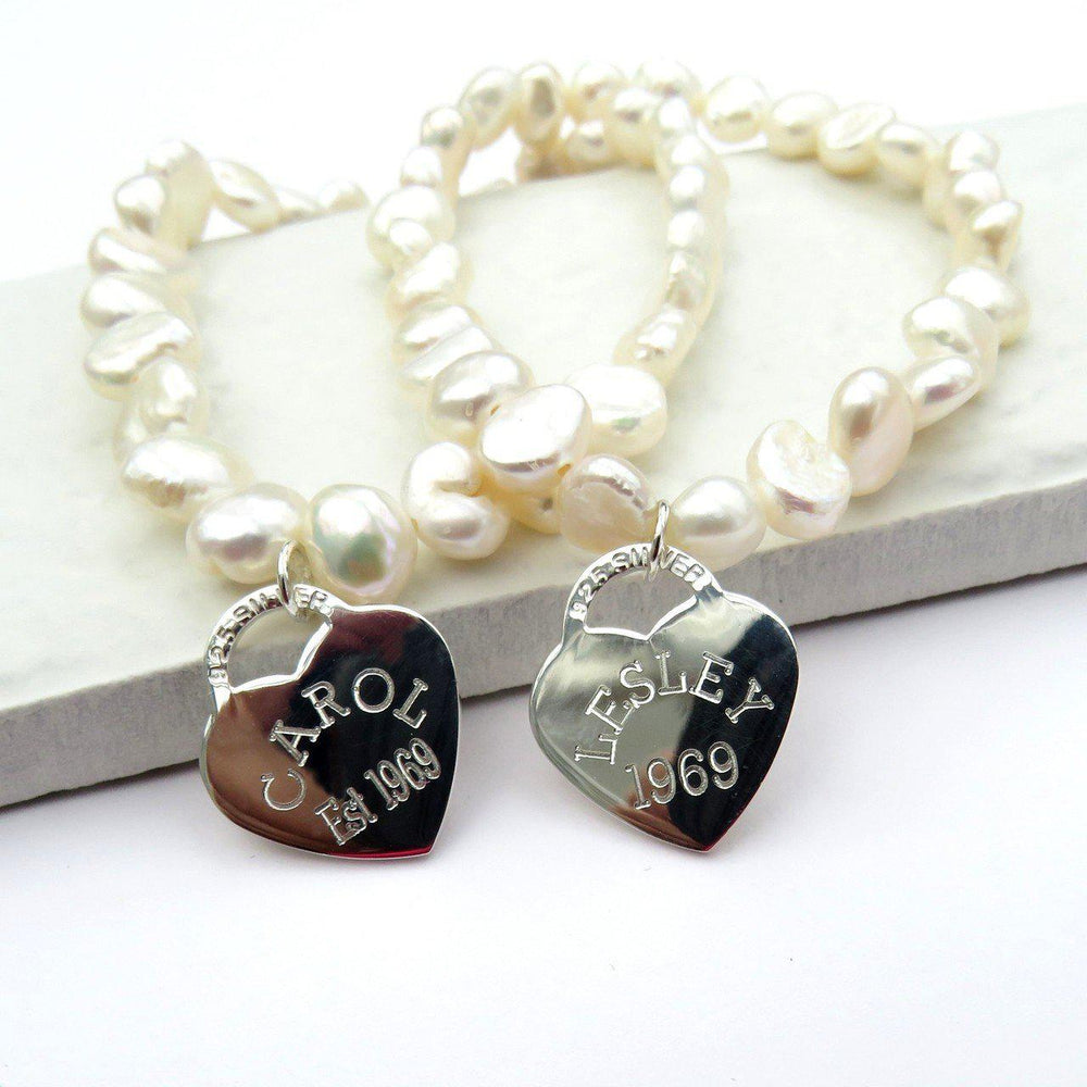 Personalised Sterling Silver Heart Pearl Bracelet