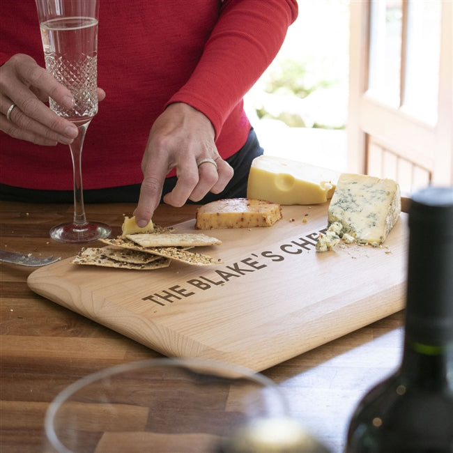 Personalised Surname Cheeseboard - A solid beech wood cheeseboard engraved with any surname