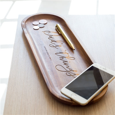 Personalised Wooden Concierge Tray - Tray Has A Pen, Coins And A Mobile