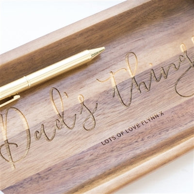 Personalised Wooden Concierge Tray - Close Up Of A Personal Message To Show The Quality Of The Product