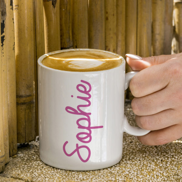 Coloured Name White Mug - Pink Sophie Text