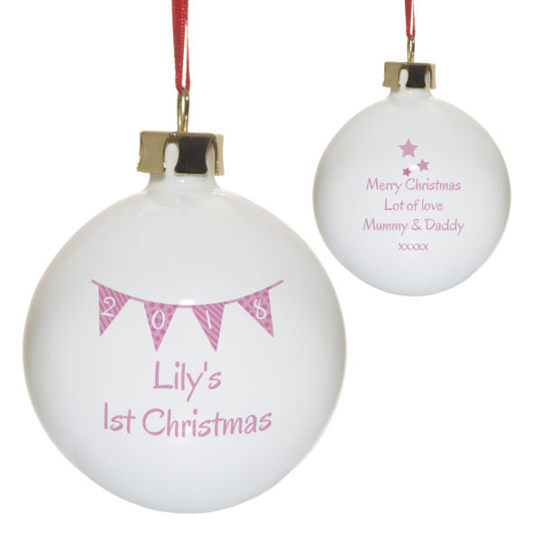 Personalised Pink Bunting Christmas Bauble - Close Up