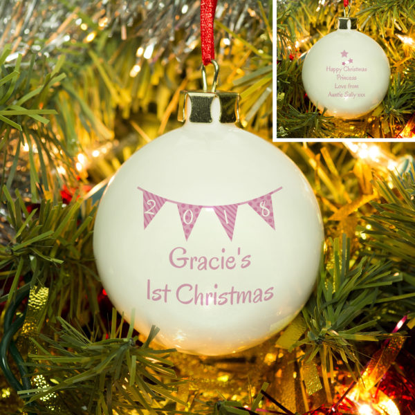 Personalised Pink Bunting Christmas Bauble