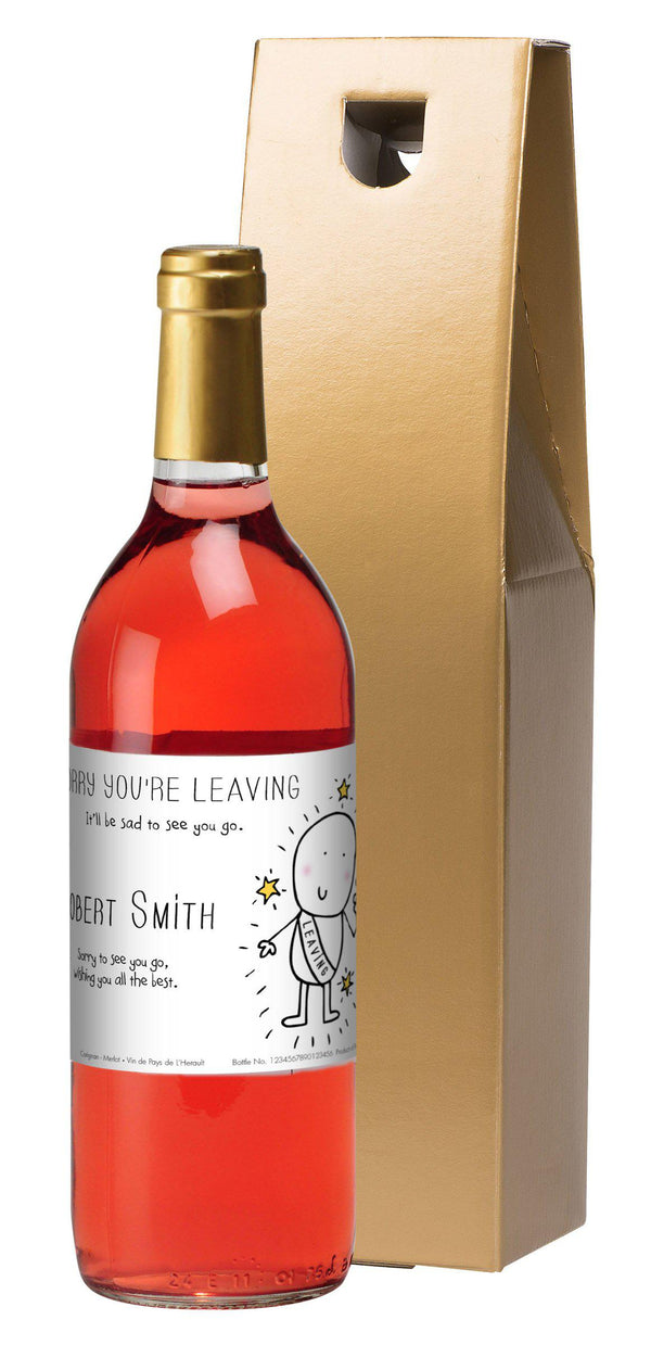 Personalised Chilli & Bubbles Leaving Rosé Wine -  Gold Gift Box