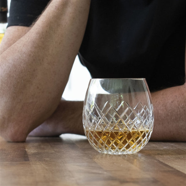 Royal Brierley Cut Crystal Whisky Tumbler - The Recipient Is Enjoying A Fine Whisky From The Crystal Tumbler