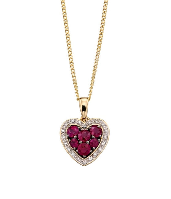 Elegant Ruby and Diamond Heart Gold Necklace