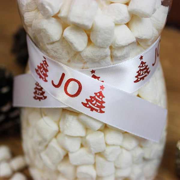 SNOWMAN SWEET JAR - MINI MALLOWS - RIBBON WITH RED CHRISTMAS TREES AND THE RECIPIENTS NAME