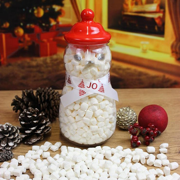 SNOWMAN SWEET JAR - MINI MARSH MELLOWS SCATTERED IN FRONT OF ACORNS AND DECORATIONS