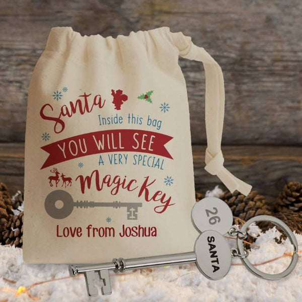 "Santa Skeleton Key With A Special Key Pouch That Reads ""Santa Inside This Bag You Will See A Very Special Magic Key Love From Joshua"""