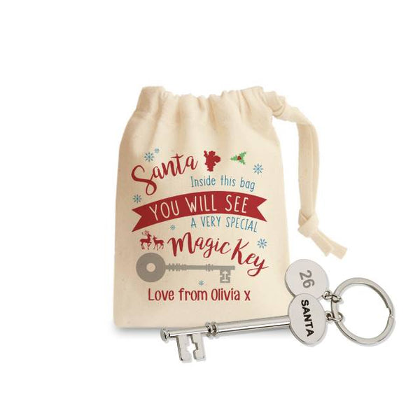 Santa Skeleton Key And Pouch, On The Pouch Are Stars, Santa, Holy And A Key