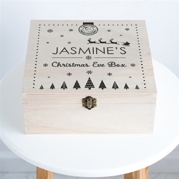 Santa Christmas Eve Box - The Lid Features Father Christmas And His Reindeer's Riding Over The Name Jasmine's Whilst Snow Is Falling
