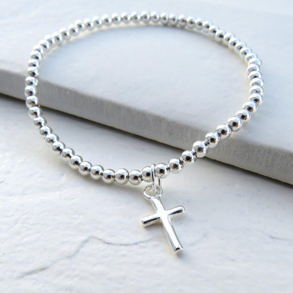 Silver Beaded Charm Bracelet With Silver Plated Cross Charm