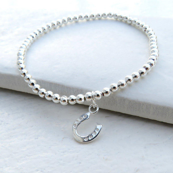 Silver Beaded Charm Bracelet With A Silver Plated Horseshoe Charm Attached