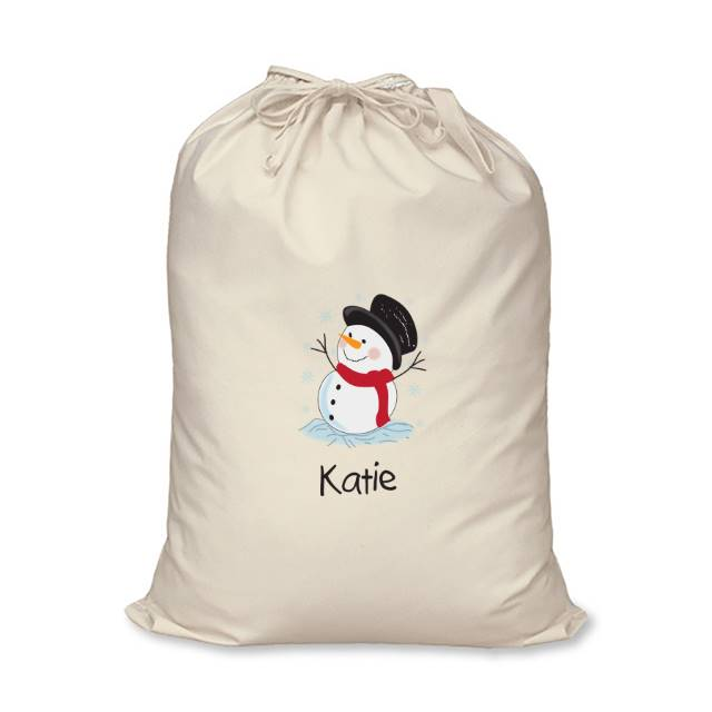 Snowman Cotton Sack - Katie's Name With A Happy Snowman Above