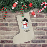 Snowman Stocking With A Happy  Snowman And The Name Sophie Underneath