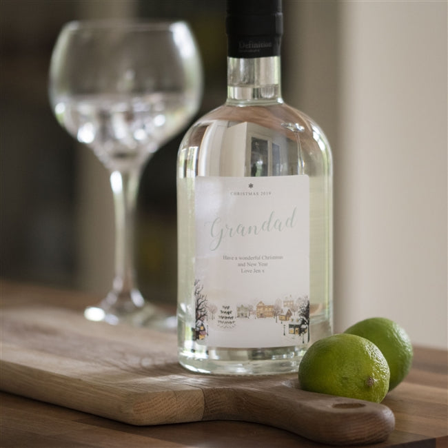 Snowy Scene Gin - Personalised With A Name And Message On A Snowy Scene Label