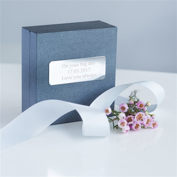 Packaged inside grey gift box which is personalised with silver engraved plate fixed to the lid of the box