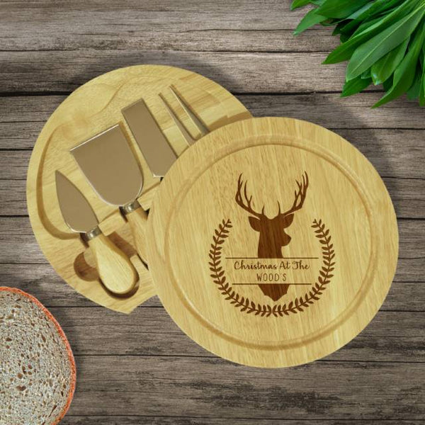 Stag Cheese Board Cheese Board & Knives - Features A Stags Head And Wreath