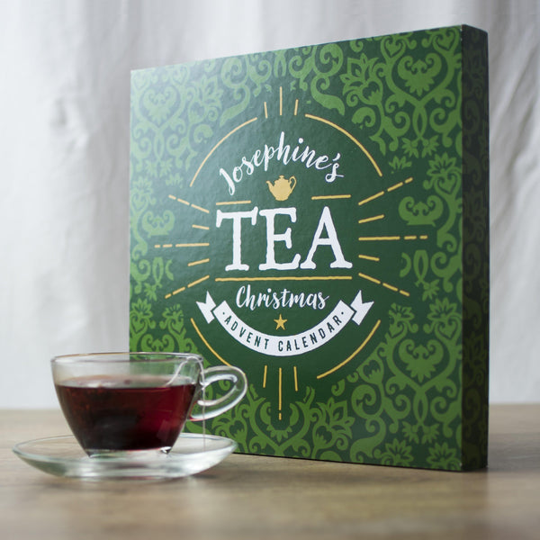 Personalised Tea Advent Box - A Nice Teapigs Brew Sitting In Front Of Josaphine's Green Advent Calendar