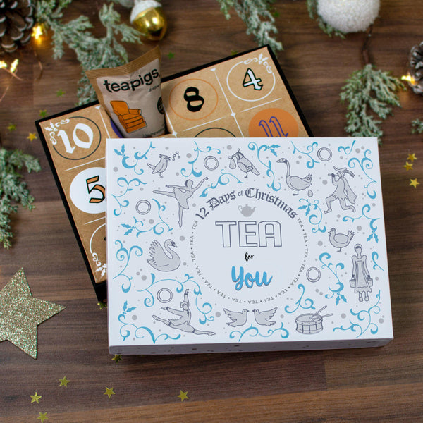 Non Personalised 12 Days of Christmas Gift Box - Teapig lid resting on advent box
