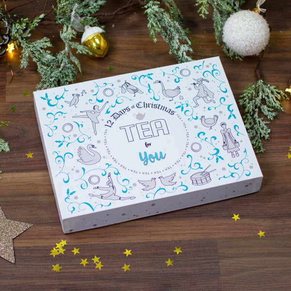 Non Personalised 12 Days of Christmas Gift Box - Teapig box on a festive table
