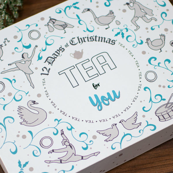 Non Personalised 12 Days of Christmas Gift Box - Teapig close up of lid