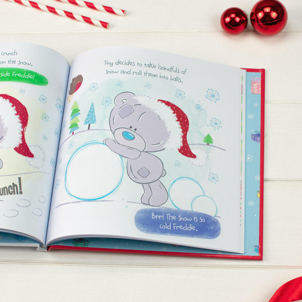 Personalised Tiny Tatty Teddy's Christmas Book -  Tiny Rolling Up Snow Balls Illustration