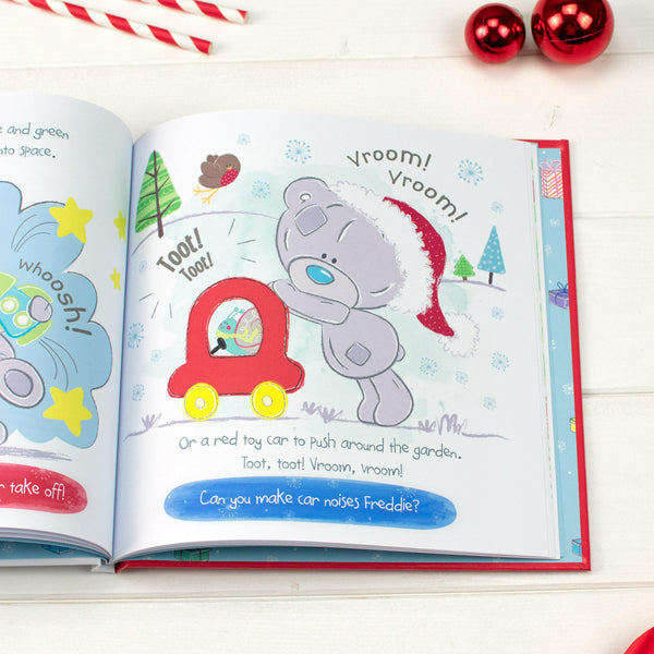 Personalised Tiny Tatty Teddy's Christmas Book - Teddy Making Car Noises Illustration Asking The Recipients To Join In