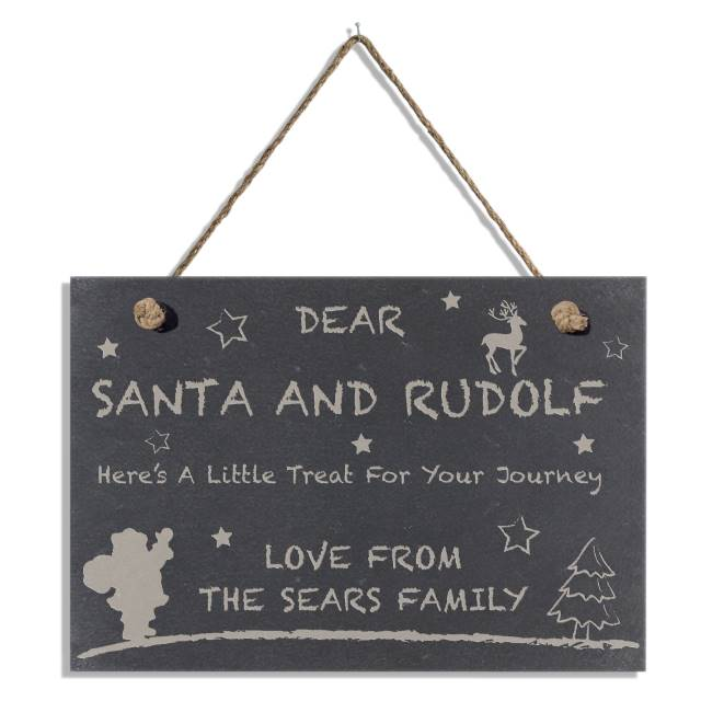 Treats for Santa Slate Hanging Sign - A Perfect Christmas Scene Featuring Santa, Rudolph, Stars And A Christmas Tree With A special Message Attached